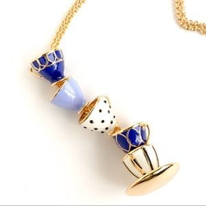 Kate spade wonder land blue tea cup long necklace
